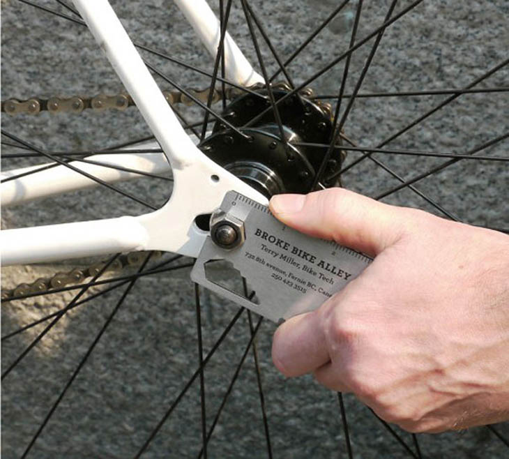 A compact bike tool kit business card. The card every bicyclist needs!