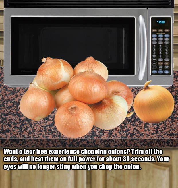 Microwave hacks - Cutting onions much easier.