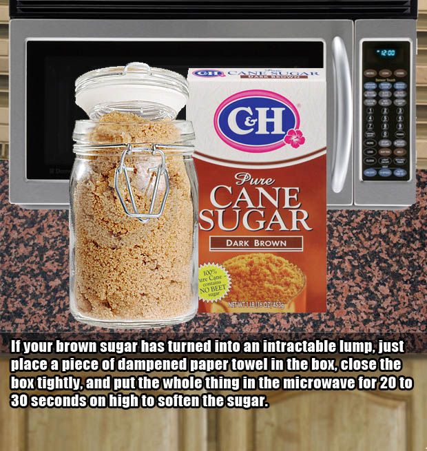 Microwave hacks - Make lumpy brown sugar smooth again.
