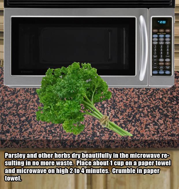 Microwave hacks - Dry herbs in the microwave.