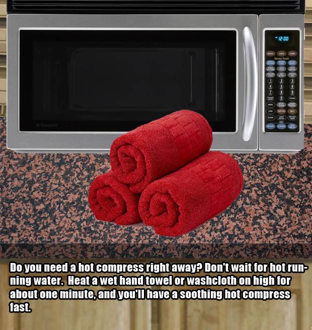 A genius way to quickly make a hot compress.