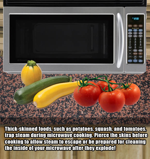 How to cook certain foods in the microwave without explosions.