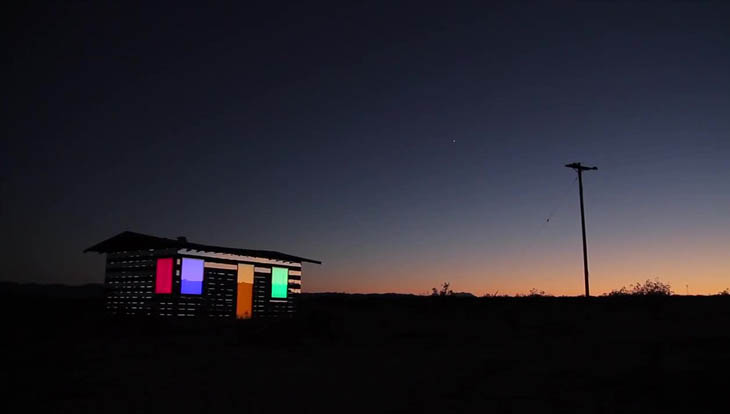 At night, the LED windows come alive, slowly rolling through the color wheel.