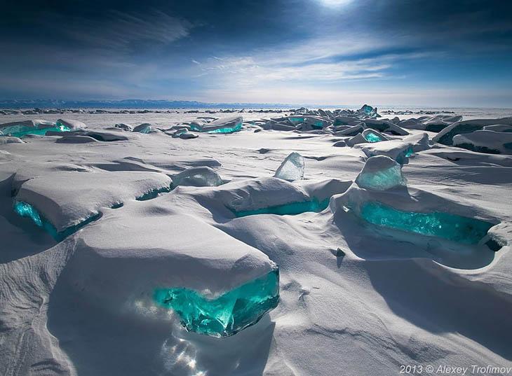 Frozen lakes - Emerald Ice On Baikal Lake, Russia