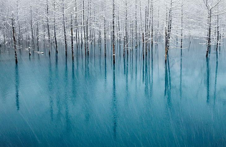 Blue Pond In Japan