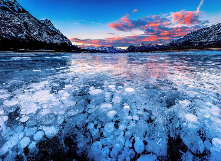 Frozen lakes - Abraham Lake In Alberta, Canada