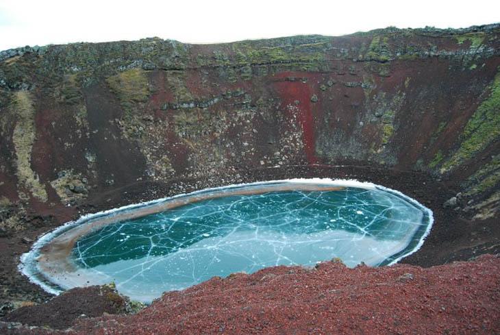Frozen lakes - Kerio volcanic crater lake, Iceland