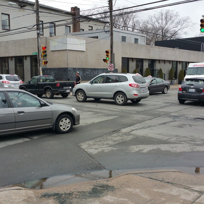 Drivers who block the intersection like this.
