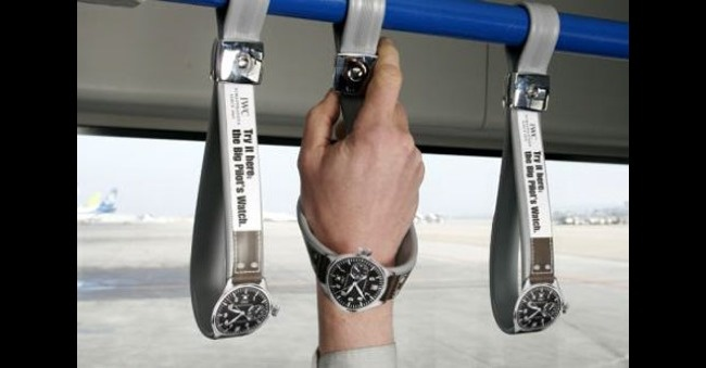 That's one claver way to get someone to try on an IWC Schaffhausen luxury watch!