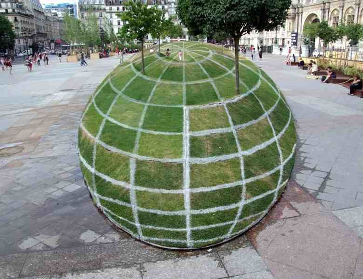 Looks like a giant grass sphere, but it's actually flat.