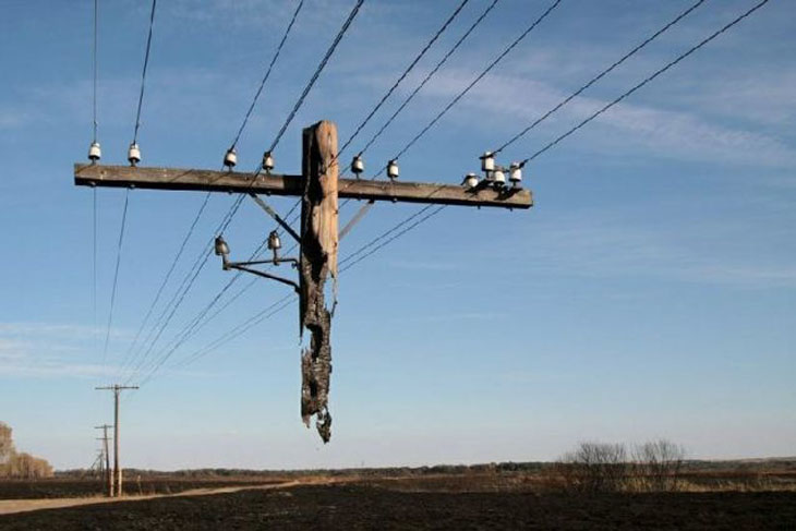 Phone line that has been destroyed by a fire in Russia.