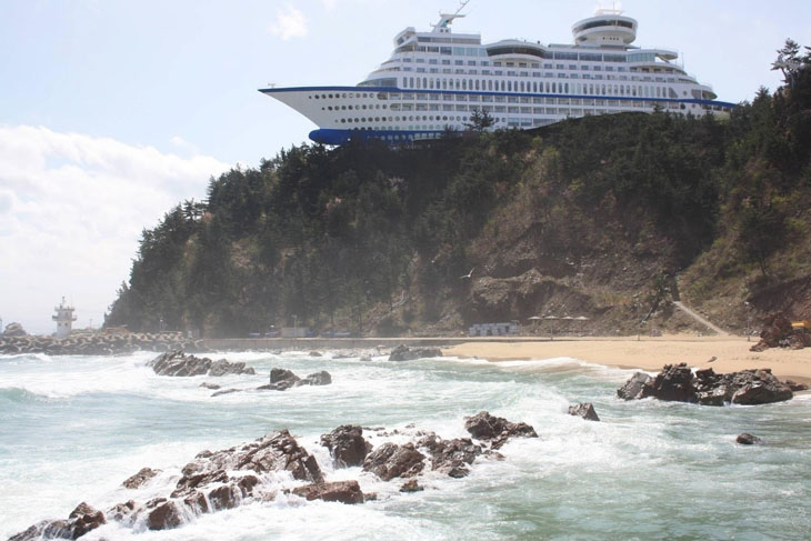 The floating cruise ship resort hotel in South Korea.