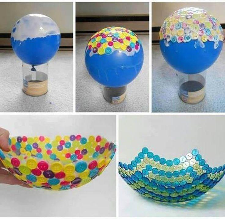 Fashion a DIY button bowl.