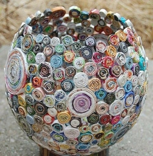 Make an artistic magazine bowl.