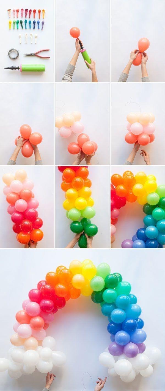 Fashion a mini rainbow balloon arch.