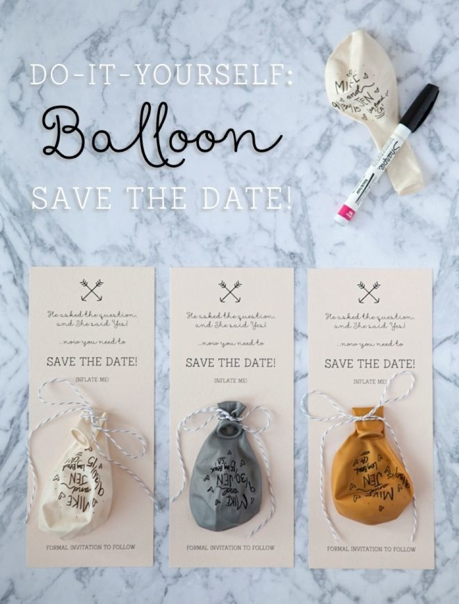 Save the date with balloons.