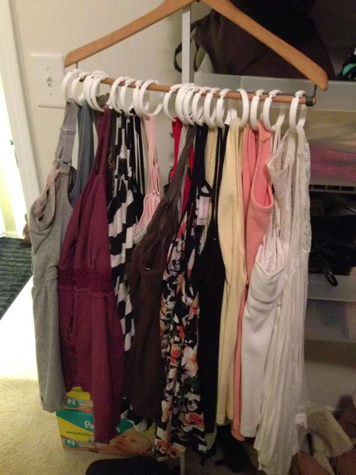Put all of your tank tops on one hanger.