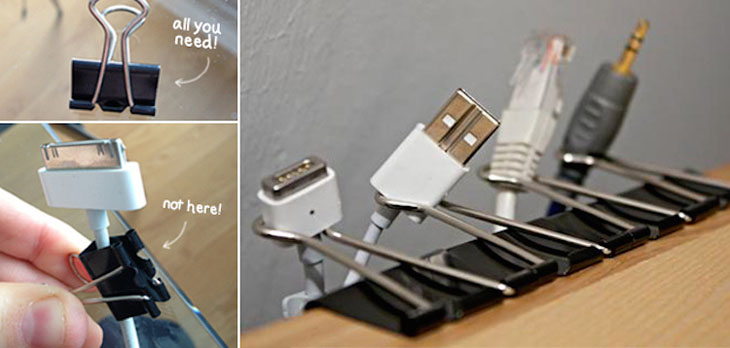 Use paper clips to help separate/organize all your wires and cables.