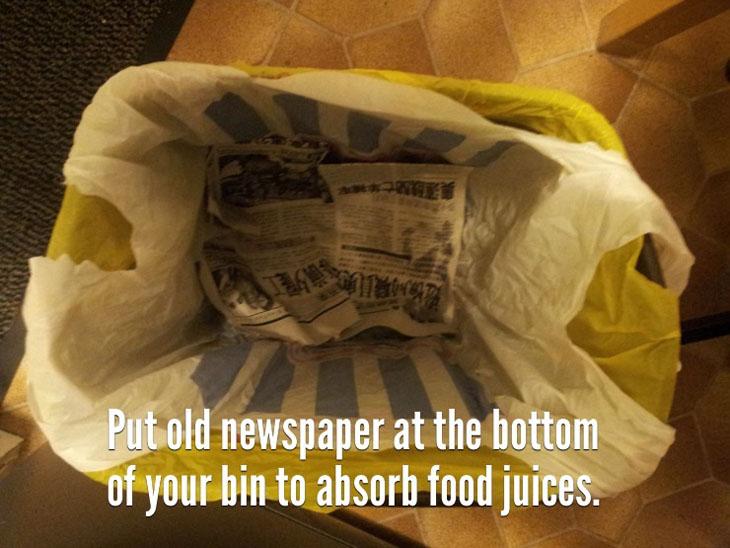 Avoid having a wet trash bag.
