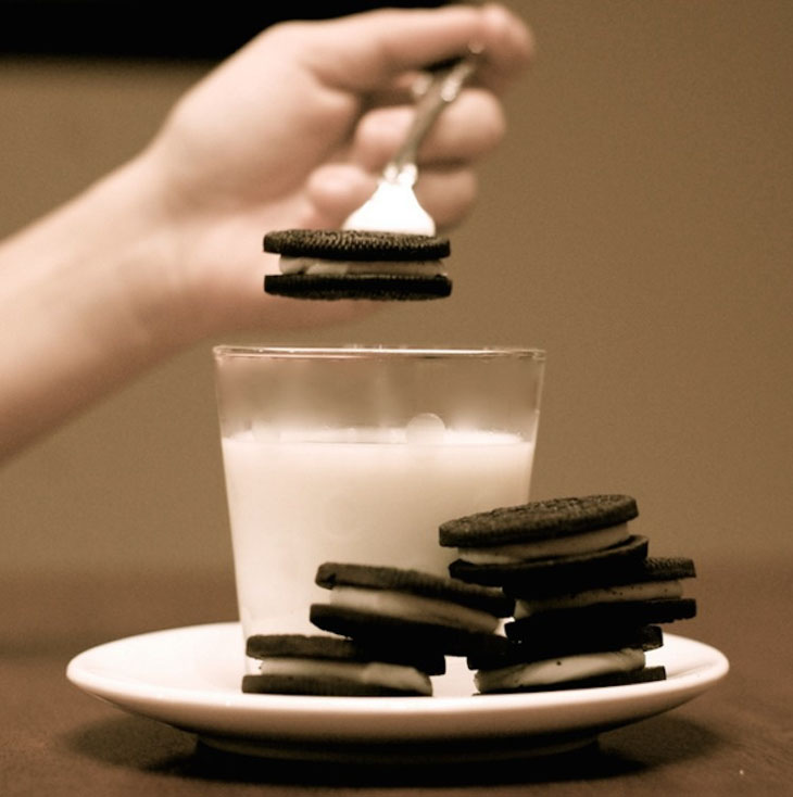 Dunk your cookies with a fork to keep your fingers from touching the milk.