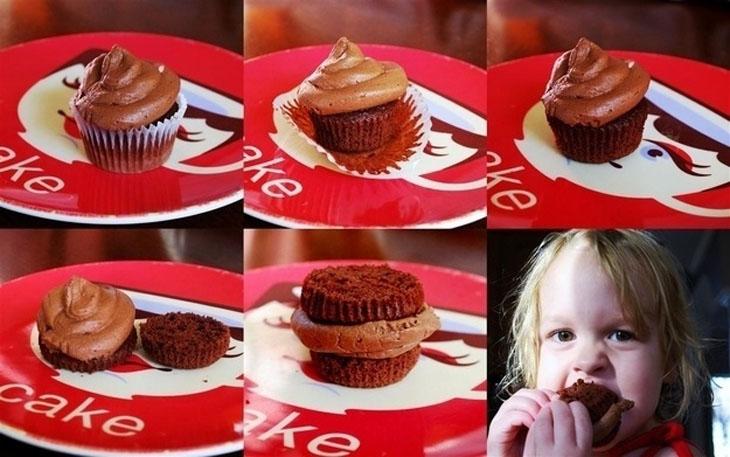 Eating cupcakes the correct way.