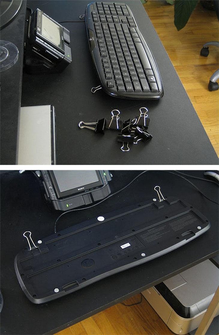 Use binder clips to fix broken keyboard feet.