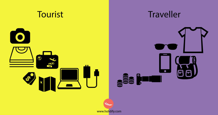The difference between a traveller and a tourist.