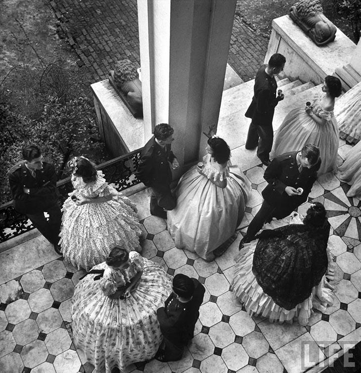 Coffee Served On Porch Of Ante-Bellum Mansion